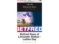 2 x HAYDOCK RACE COURSE LADIES DAY TATTERSTALL TICKETS SAT 6TH AUG