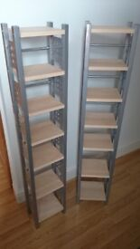 2 BEECH AND SILVER EFFECT CD TOWERS / STORAGE