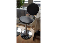 black leather effect breakfast table / bar table and 2 bar stools set oval adjustable height good