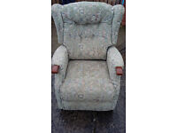 light green patterned electric recliner armchair