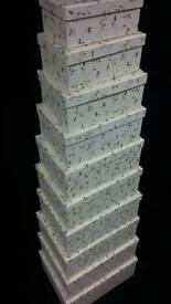 Set of x10 Stacking boxes gift box display presentation make up