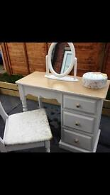 Pine dressing table with mirror and chair