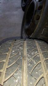 "Vauxhall 14"" steel wheels and tyres. 4 stud 4 x 100"
