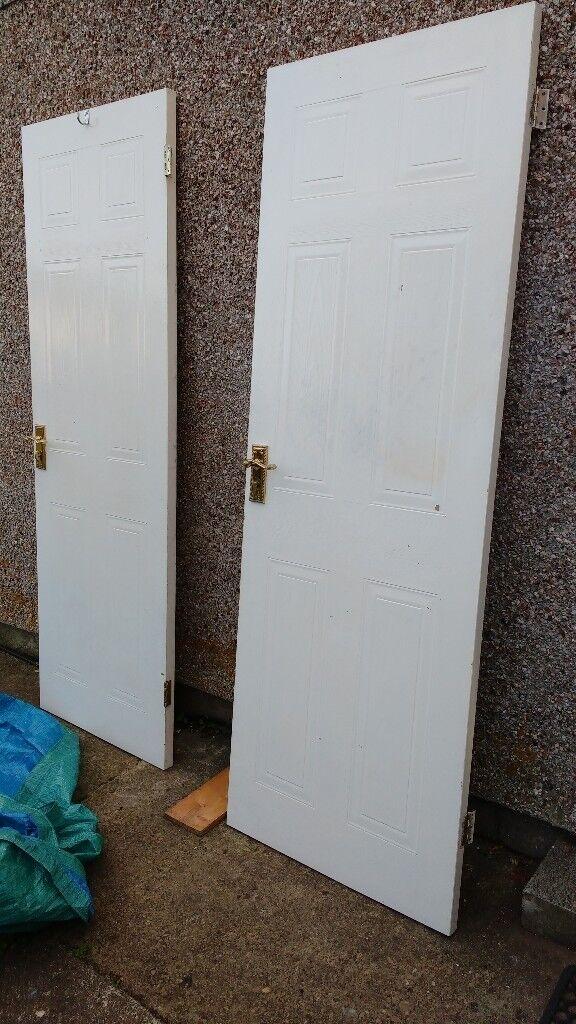2 Interior Doors 6 Panel White Brass Handles With Locks Pre Used