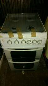 Freestanding Hotpoint gas cooker, double oven, grill, glass lid, superb condition