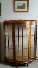 Vintage Bow Fronted Lockable China Desplay Cabinet - late 1940's