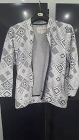 Mosaic design black white and grey jacket