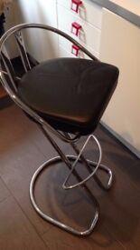 2 x black leather and chrome bar stools
