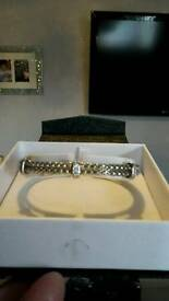 Womens sterling silver and diamond bangle