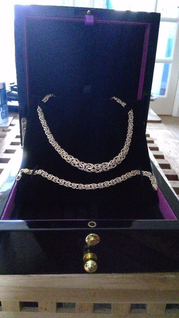 9ct Gold Necklace & Bracelet Matching Set