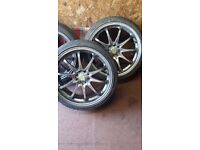 """18"""" 4 stud multi fit alloys with 4 nearly new 215-35-18 tyres 5mm+"""