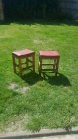 Two Vintage Wooden Stools