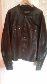 ALLSAINTS shirt Jacket in leather as new brown with clips paid 300£ only 45£!!! size XL