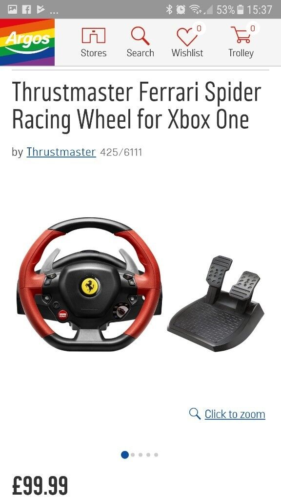 Steering wheel and pedals for x box one