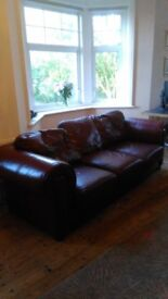 Large Burgundy Leather 3 seater settee and two single matching chairs