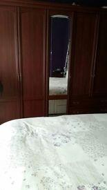 Mahogany double wardrobe with side tables
