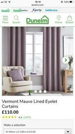 Mauve curtains blackout 90X90 Dunelm