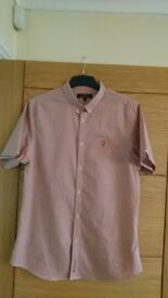 Ben Sherman short sleeved shirt, red checked, size large. New without tags