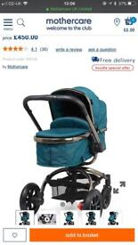 Mothercare orb travel system with cybex car seat.