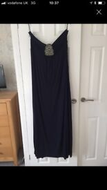 Navy, strapless, full length dress from Monsoon. Size 16.