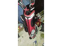 Jtek golf bag, 3 clubs and practice balls