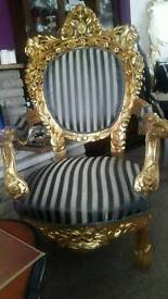 Armchair chair throne rococo baroque antique french solid wood gilding leaf