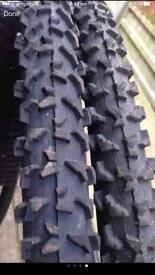 Pair mountain bike tyres tubes. size 26/1.90 like new. Must go.make GALON. Black.