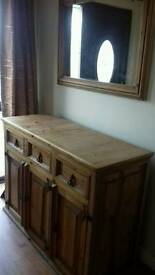 Antique pine Hall unit and mirror combo