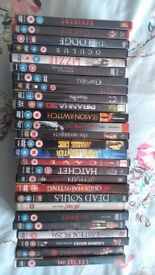 selection of dvds, mainly horror