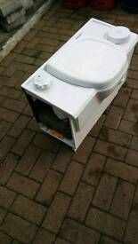 Caravan cassette toilet electric flush shown working camper van toilet