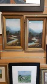 Pair antique oil paintings