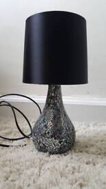 Mirrored bedside lamp with black shade