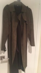 Green soft trench coat size medium