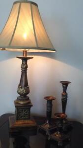 Beautiful lamp and 3 candle holders set