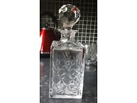 Edinburgh Crystal Decanter and two crystal brandy glasses, perfect condition