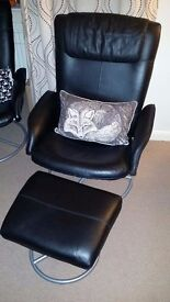 Black Leather Reclining Office Chairs