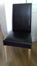 4 x Italian black leather dining room chairs