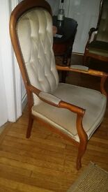 Pair of Victorian style beech wood cream chairs
