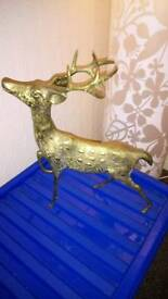 LARGE BRASS STAG ORNAMENT