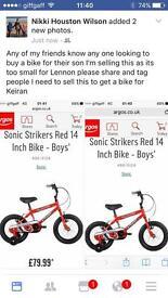 Boys bike still in the box BRAND NEW