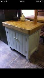 Butchers block prep station cupboard storage unit