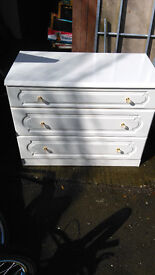 large white 3 drawer chest
