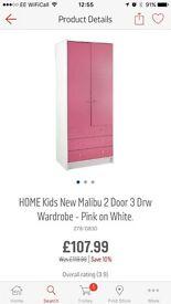 Pink 2 door 3 drawer wardrobe