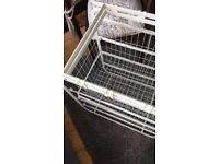 Ikea white ALGOT storage frame with rods and two wire baskets