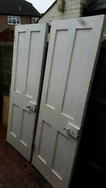 2 x Original Solid Victorian 4 panel Doors