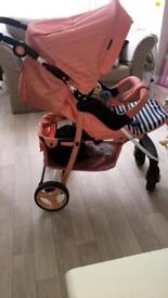 My babiie coral striped pram
