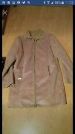 "Ladies jacket ladies coat NEXT size 12 faux seude beige coat/jacket 36"" length excellent condition"