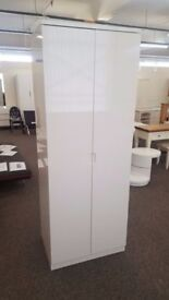 Ex Display Julian Bowen Manhattan White High Gloss 2 Door Wardrobe **CAN DELIVER**