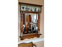 Mirror With Wooden Frame And Decorative 3D Top Panel