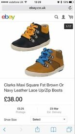 Brand new boxed clarks navy boots 7.5G